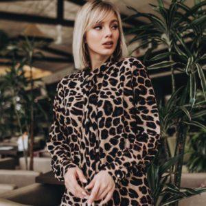 Приобрести шелковую леопардовую блузку женскую дешево