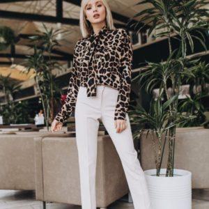 Заказать недорого женскую леопардовую шелковую блузку в подарок