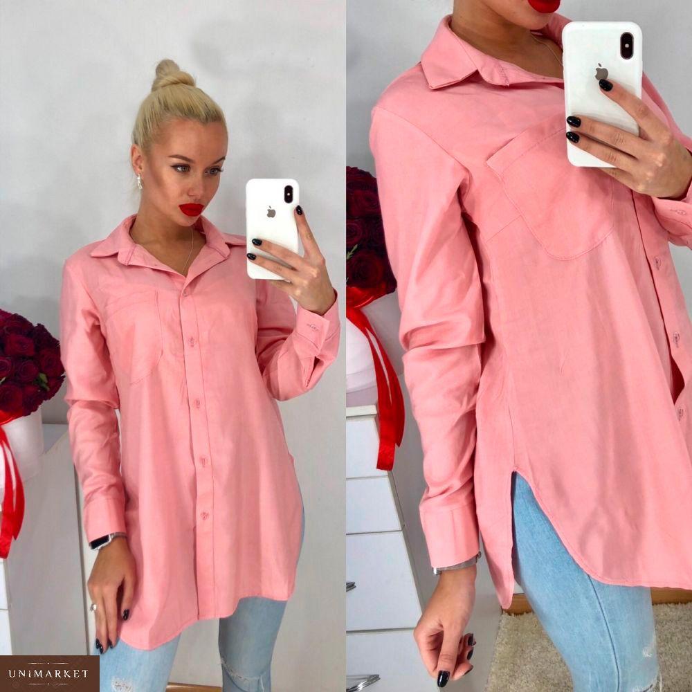 5934d240ab3 Заказать недорого женскую удлиненную рубашку из штапеля розового цвета в  подарок · Приобрести женскую рубашку удлиненную из штапеля цвета пудры  дешево