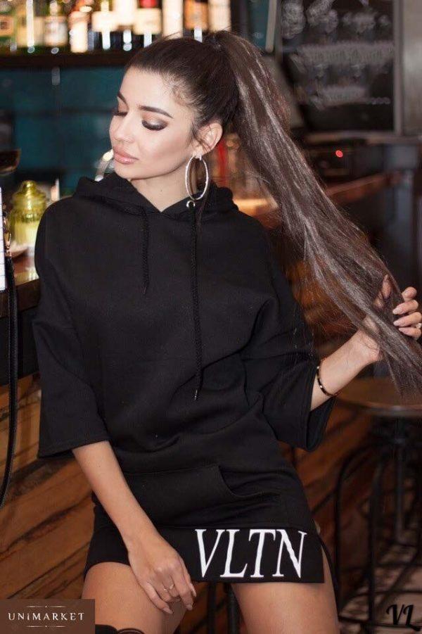 Заказать женское черное свободное платье с капюшоном из турецкой двухнитки больших размеров в подарок