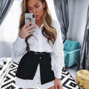 Приобрести женское платье черно-белое - рубашка с поясом и баской дешево