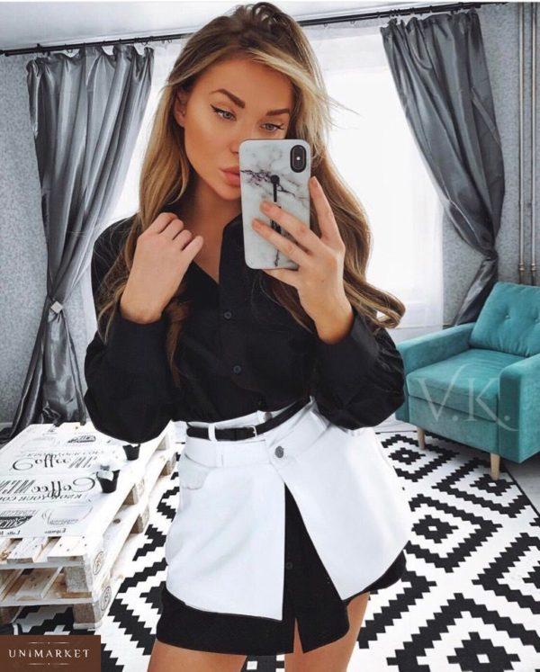 Заказать женское черно-белое платье - рубашка с баской и поясом в подарок