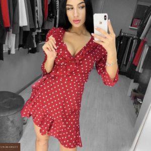 Купить недорого женское весеннее платье на запах в горошек красного цвета оптом