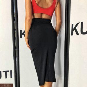 Купить дешево женскую миди юбку из трикотажа с разрезом черного цвета оптом