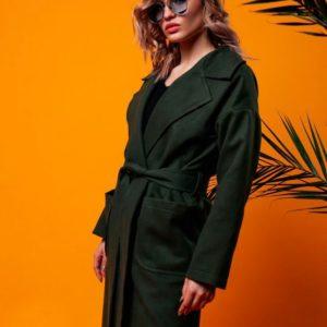 Приобрести женское весеннее пальто из турецкого кашемира с поясом на подкладке цвета хаки дешево