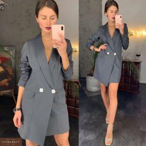Купить женский пиджак платье графитового цвета из костюмной ткани оптом
