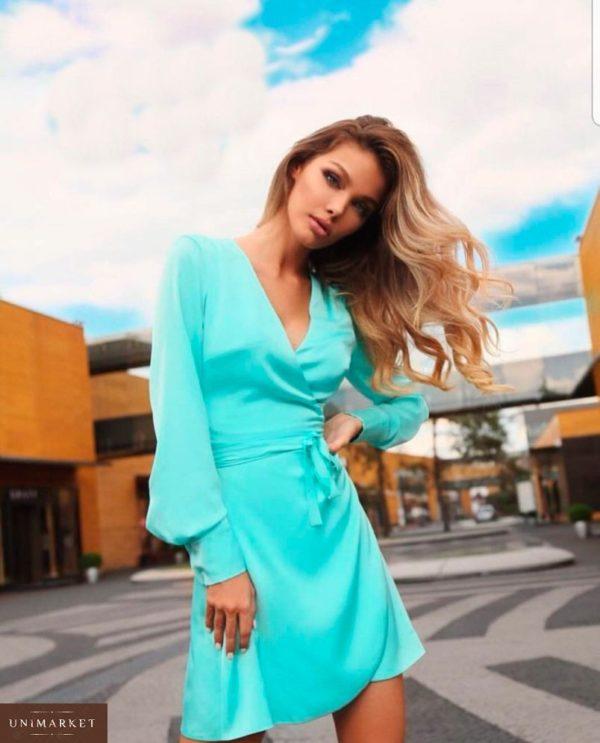 Заказать шелковое платье женское армани на запах мятного цвета оптом Украина