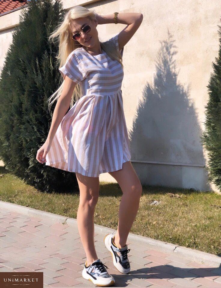 f7fdabb3317e56 Замовити жіноче літнє плаття в смужку з льону бежевого кольору в подарунок