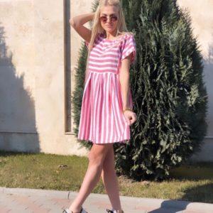 Приобрести платье женское летнее из льна в полоску красного цвета оптом Украина