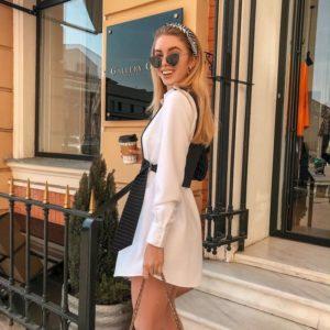 Приобрести женский комплект асимметричный пиджак и белая рубашка оптом Украина