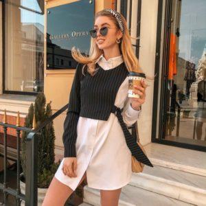 Купить женский комплект белая рубашка и асимметричный пиджак недорого