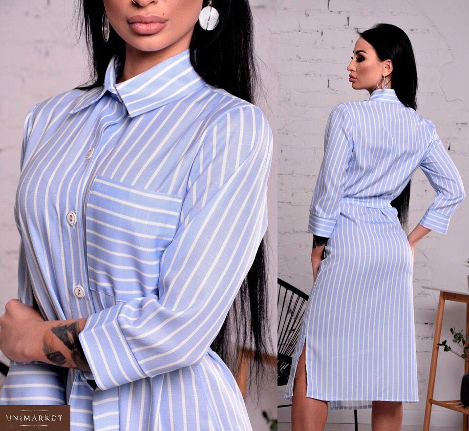 ccc9fbf8e2f Купить женское платье - рубашку из льна светло-голубого цвета недорого