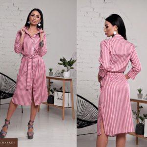 Заказать женскую рубашку платье из льна светло-красного цвета в подарок