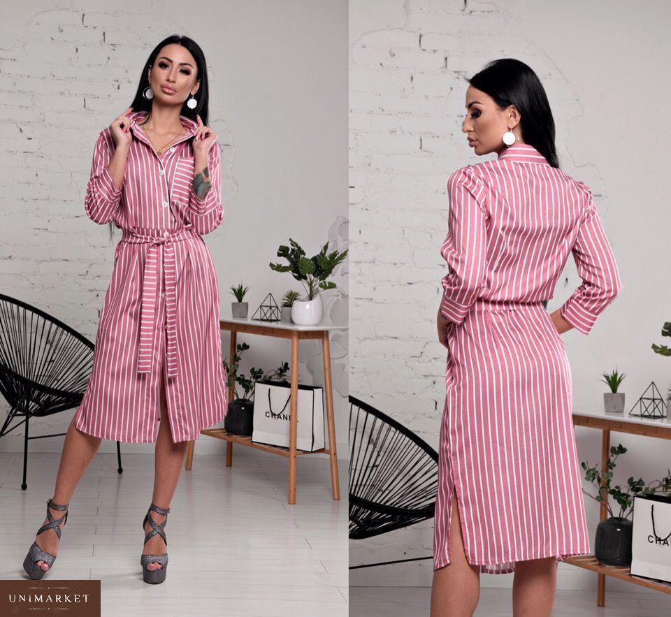 47c6d54bbf3 Заказать женскую рубашку платье из льна светло-красного цвета в подарок