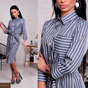 Приобрести платье - рубашку из льна женское серого цвета оптом Украина