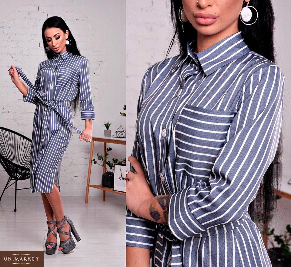 55bcad1b3b7 Приобрести платье - рубашку из льна женское серого цвета оптом Украина