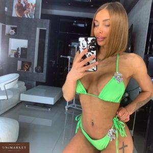 Купить дешево женский купальник с камнями зеленого цвета оптом