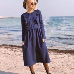Заказать синее женское платье из костюмного крепа