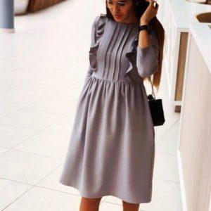Купить серое женское платье из костюмного крепа