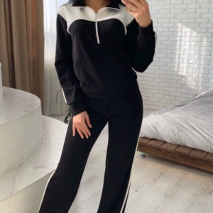 Купить черный спортивный костюм из креп-дайвинга для женщин
