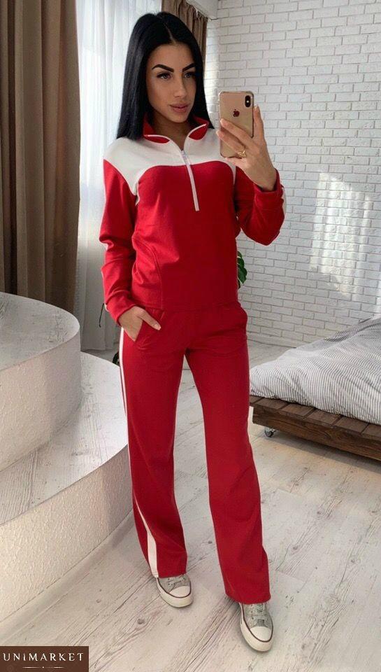 Заказать женский спортивный костюм красного цвета из креп-дайвинга
