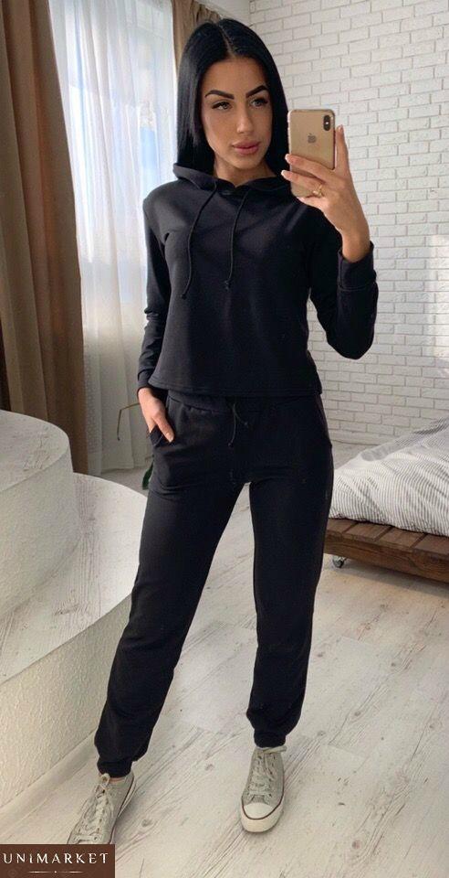 Купить женский лёгкий спортивный костюм из двунитки черного цвета
