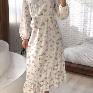 Купить длинное летнее женское платье из хлопка