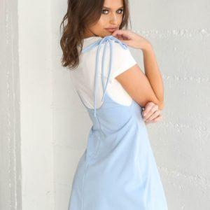 Заказать женское платье футболка+сарафан 2-ка голубого цвета в подарок