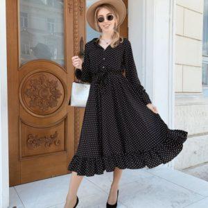 Заказать недорого женское платье миди в мелкий горох черного цвета в подарок
