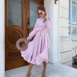 Приобрести женское платье в мелкий горох миди дешево сиреневого цвета оптом Украина
