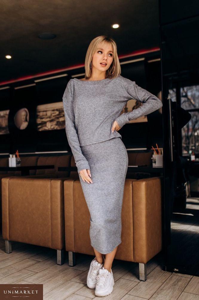 6eb85c65498 Купить женский костюм рубчик из трикотажа турецкого  юбка и кофта серого  цвета оптом Украина