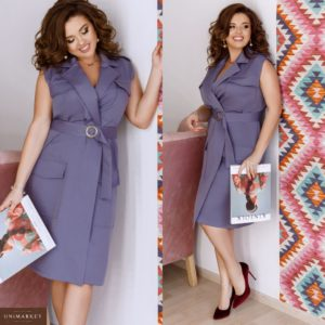 Приобрести женское миди платье с поясом на запах больших размеров голубого цвета дешево