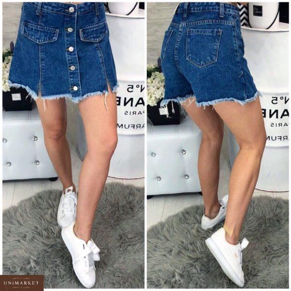 Купить женскую юбку-шорты джинсовую синего цвета недорого