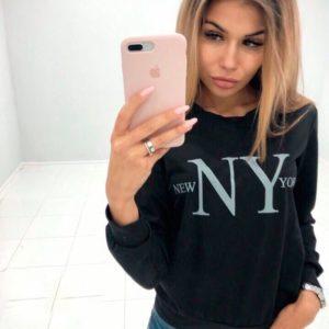 Приобрести черный свитшот женский New York с принтом дешево