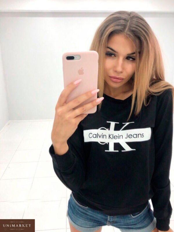 Приобрести женский свитшот Calvin Klein с принтом дешево черного цвета
