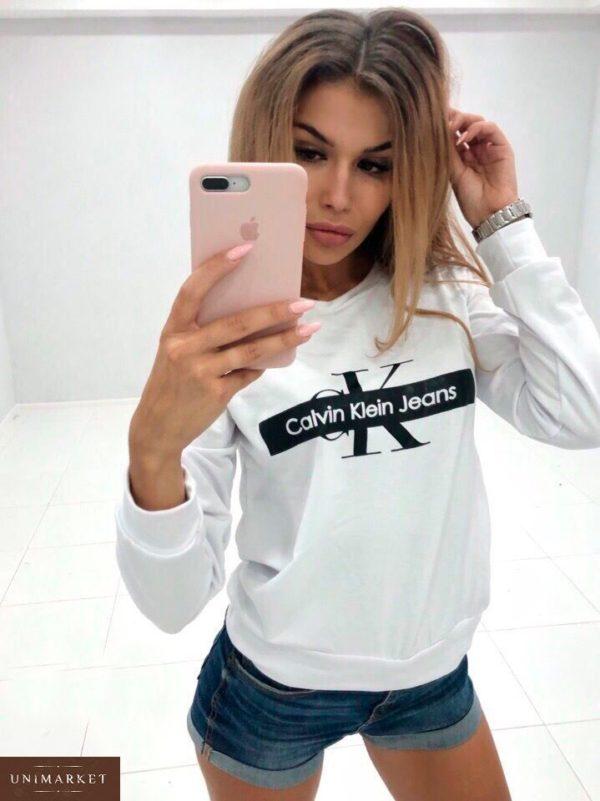 Заказать недорого женский свитшот с принтом Calvin Klein белого цвета в подарок