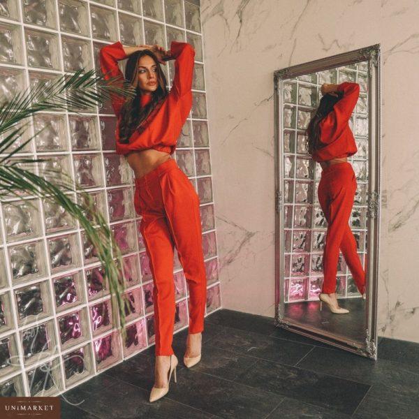 Приобрести женский костюм с кофтой объемной на резинке красного цвета дешево