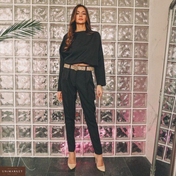 Заказать недорого женский костюм с объемной кофтой на резинке черного цвета в подарок