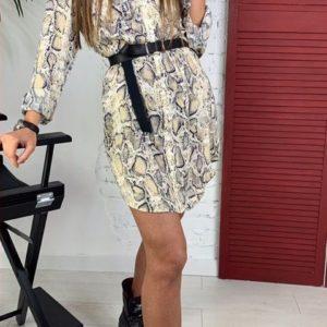 Заказать женское шёлковое платье-рубашка с поясом с принтом-питон