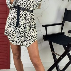 Купить леопардовое шёлковое платье-рубашка с поясом для женщин