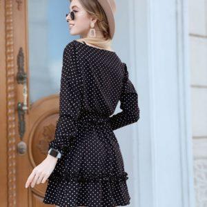 Купить дешево женское платье весеннее в горошек с поясом черного цвета оптом Украина