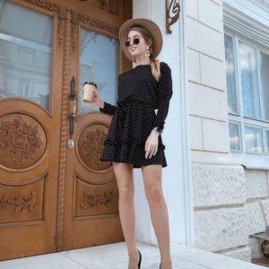 Приобрести недорого женское весеннее платье в горошек с поясом черного цвета дешево