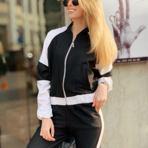 Купить дешево женский черно-белый костюм с лампасами спортивный оптом Украина