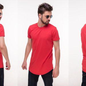 Приобрести дешево мужскую футболку удлиненную из хлопка красного цвета больших размеров оптом