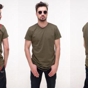 Купить мужскую удлиненную из хлопка футболку цвета хаки больших размеров недорого