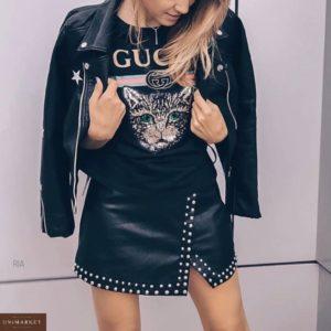 Приобрести недорого женскую черную кожаную юбку с клепками дешево