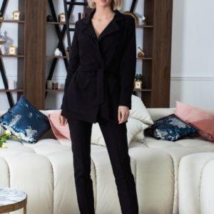 Приобрести чёрный костюм из стрейч-джинса для женщин