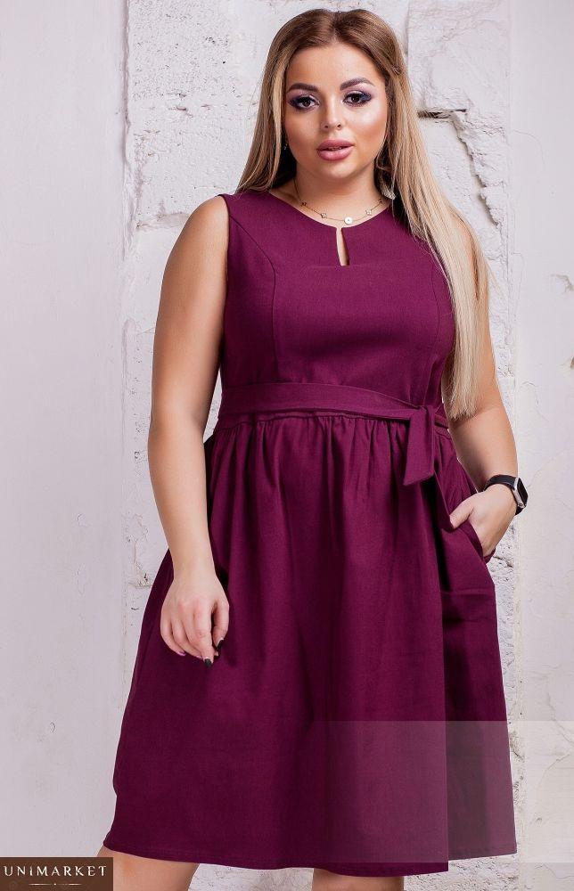 1a37eaa0ecf7fe Замовити жіноче плаття з поясом з стрейч-джинса марсалового кольору · Купити  жіночу сукню великого ...