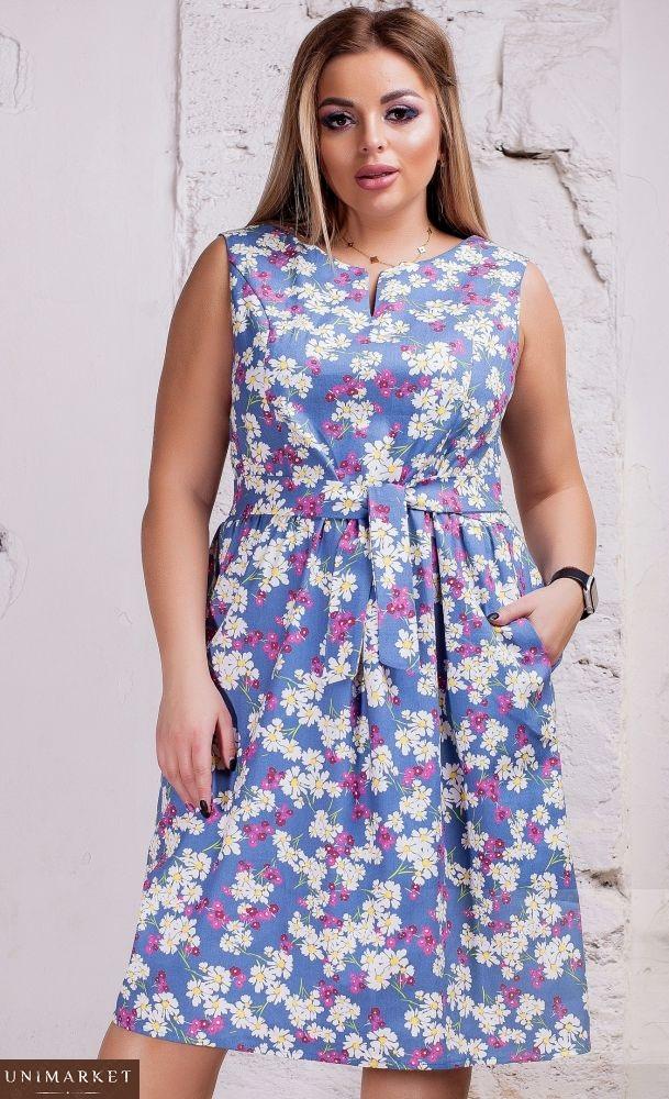 5813dc736326e2 Придбати жіночу сукню з поясом з стрейч-джинса з ромашками великого розміру