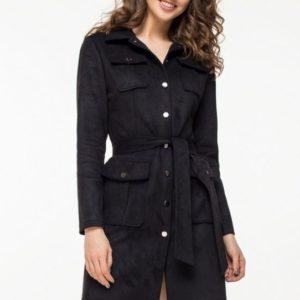 Купить женское платье тренч с поясом из эко замши чёрного цвета